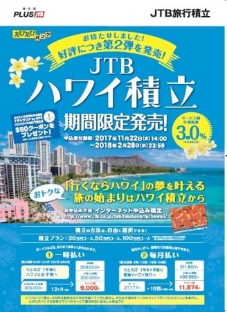 もっとお得に、確実に憧れのハワイ旅行が近づく「JTBハワイ積立」期間限定で発売!  第2弾は11月22日(水)より申込み受付開始