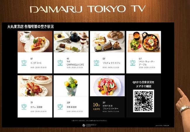 「各階喫茶」「トイレ」のリアルタイム空席状況表示サービス大丸東京店でスタート