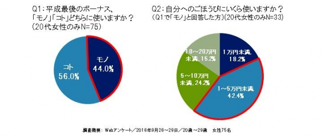 2018年平成最後のボーナス商戦は「モノ」消費?「コト」消費!?20代女性は何に使う?